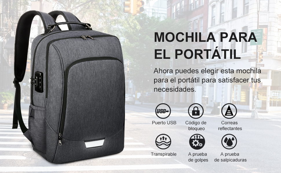 VBIGER Mochila Antirrobo Impermeable 17 Pulgadas Bolsa Viaje Negocios Puerto USB