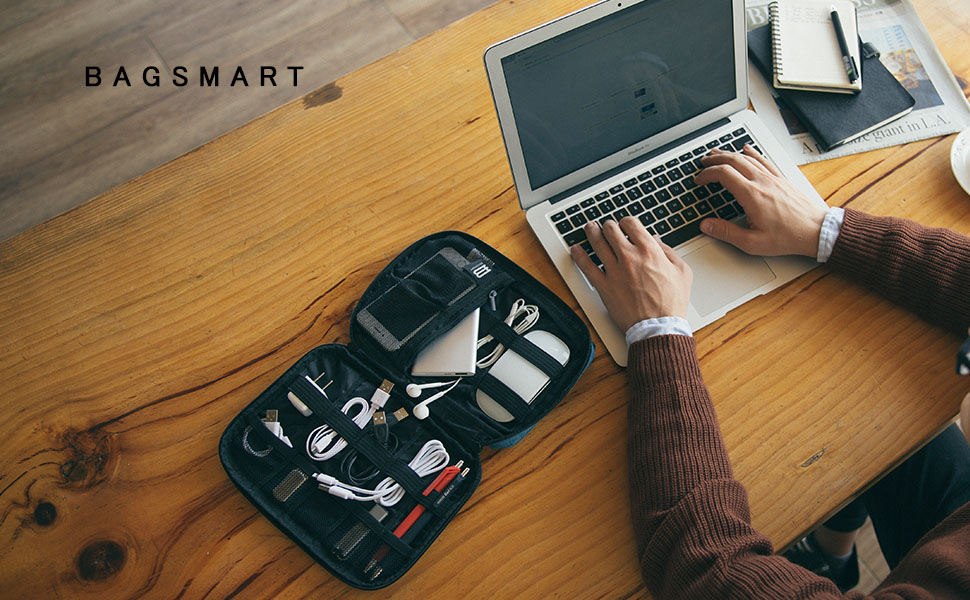 bagsmart Organizador Electronica Bolsa Organizador de Accesorio Viaje para Cables,Memorias USB,Powerbanks, Baterias, Tarjeta SD (Gris): Amazon.es: Informática