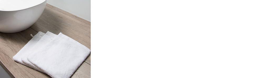 blanco Zollner Set de 10 manoplas de ba/ño de rizo disponibles en otros colores 16x21 cm 100/% algod/ón