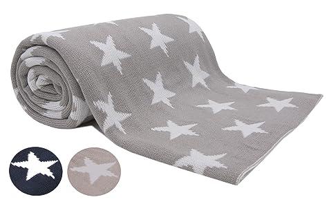 ZOLLNER Manta Grande para sofá Gris, 150x200cm, con Estrellas