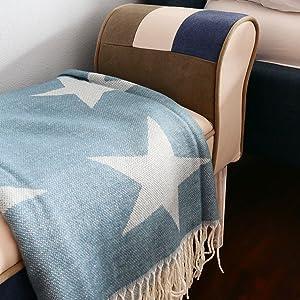 ZOLLNER Manta para el sofá con Estrellas, 130x170 cm, Beige