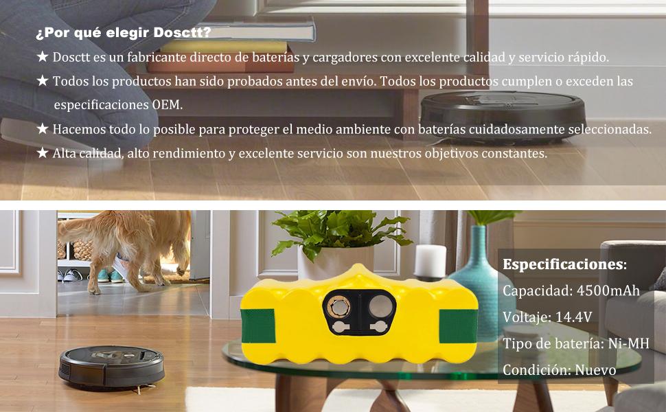 Dosctt Reemplazo para iRobot Roomba 4500mAh Batería de Repuesto ...