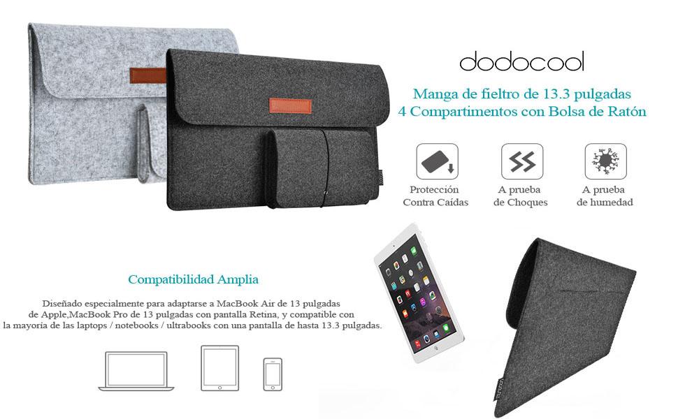 f6a122e6af3 Mejor opción para su tablet. dodocool 13.3 pulgadas funda de fieltro  portátil ...