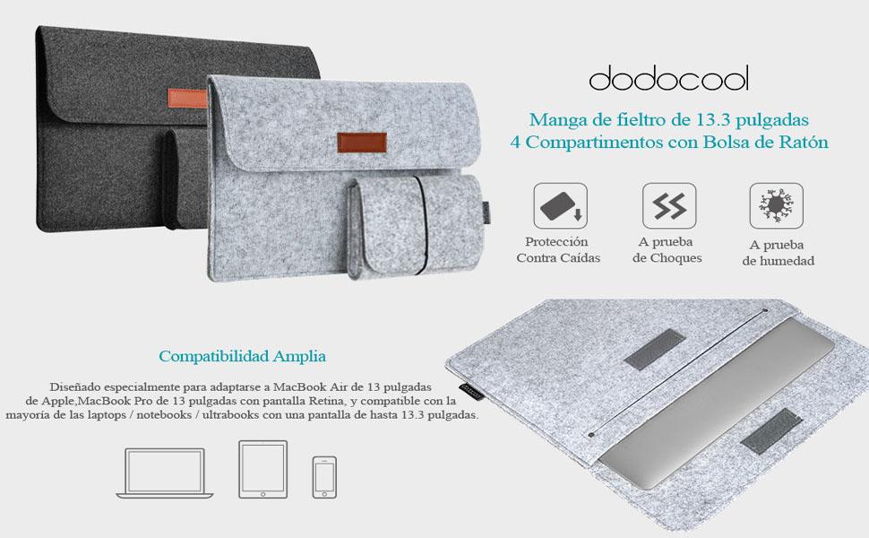 dodocool 13.3 pulgadas Funda de fieltro para Macbook con Bolsa de ... 50ad70e3b29