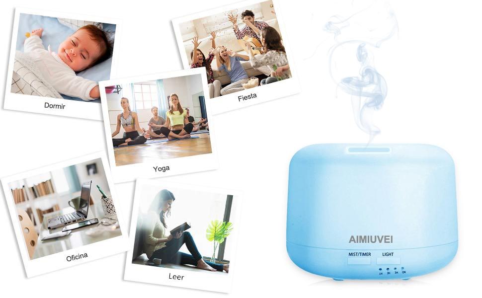 Humidificador Aromaterapia Ultrasónico con Control Remoto, AIMIUVEI Difusor de Aceites Esenciales 300ml,Difusor Aroma de Vapor Frío con 7 Colores de ...