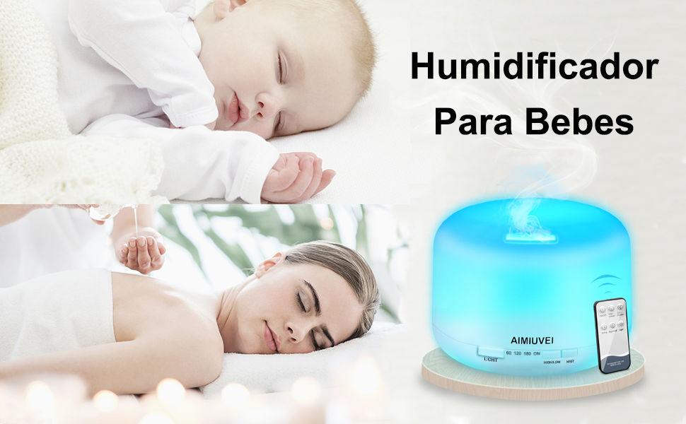 AIMIUVEI 500ml Humidificador Aromaterapia Ultrasonico con Mando a Distancia, Difusor de Aceites Esenciales Aromaterapia Ultra Silencioso, Apagado ...