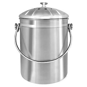 Utopia Kitchen [5 Litros] Recipiente de compostaje de acero inoxidable para encimera de cocina - Cubeta de compostaje - Incluye 1 filtro de carbón de ...