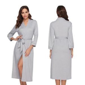 iClosam Batas Mujer Algodón Largo,Kimono con Cinturón Primavera,Ropa de Dormir Cuello en V Suave y Comodo S-XXL