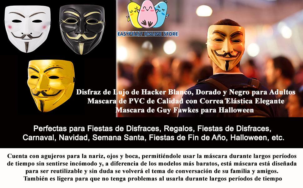 Ultra Blanco Adultos Guy Fawkes Mascara Hacker Anónima V de ...
