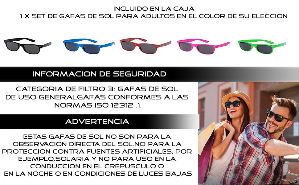 Adultos Clásico Retro Gafas de Sol de Estilo UV400 ...