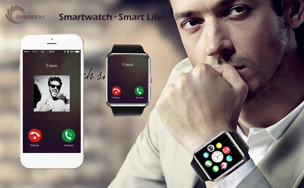 CHEREEKI Bluetooth Smart Watch Reloj Inteligente Teléfono ...