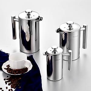 Velaze Cafetera de Émbolo, Cafetera de Prensa Francesa de Acero Inoxidable Pared Doble con 5 Filtros y 1 Cuchara (350ml)