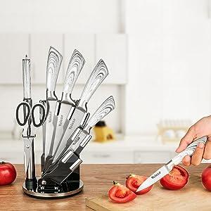 Velaze Cuchillo de Cocina, Profesionales Juego de Cuchillos de 8 Piezas Cocina de Acero Inoxidable, Cuchillo Cocinero, Tijeras, Afilado, Cuchillo de ...