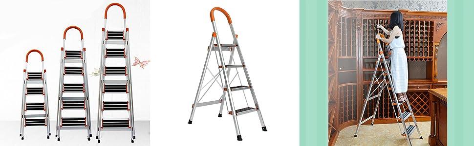 DlandHome 3 Peldaños Escalera Plegable, Antideslizante Altura de trabajo 260 cm, Hasta 150 kg, Aleación de aluminio EN 131: Amazon.es: Bricolaje y herramientas