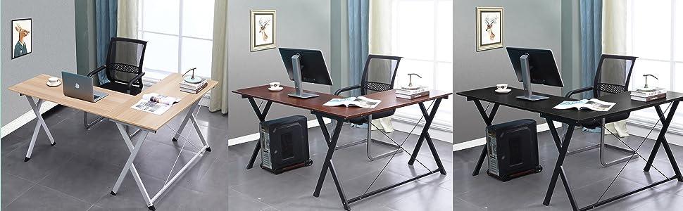 DlandHome L Mesa Escritorio de la computadora 120cm+110cm, Ordenador Portátil para PC Estación de Trabajo de Estudio Mesa de Esquina con CPU Stand, Negro & Negro: Amazon.es: Hogar
