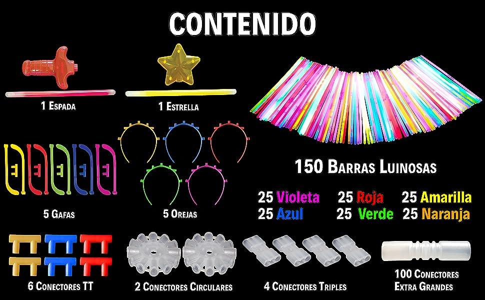 JUVAD Glow Party Pack - 150 Pulseras Luminosas Fluorescentes para Fiesta con: Gafas, Orejas, Bola, Flor, Espada, Varita Mágica, Pulseras Triples, Collares: Amazon.es: Deportes y aire libre