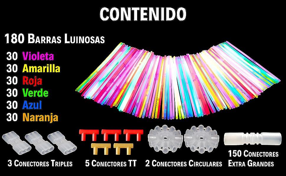 JUVAD Glow Mega Pack - 180 Pulseras Luminosas Fluorescentes y Accesorios | Varitas Luminosas para Fiesta y Niños / Rojo, Amarillo, Azul, Violeta, Verde y Naranja: Amazon.es: Juguetes y juegos