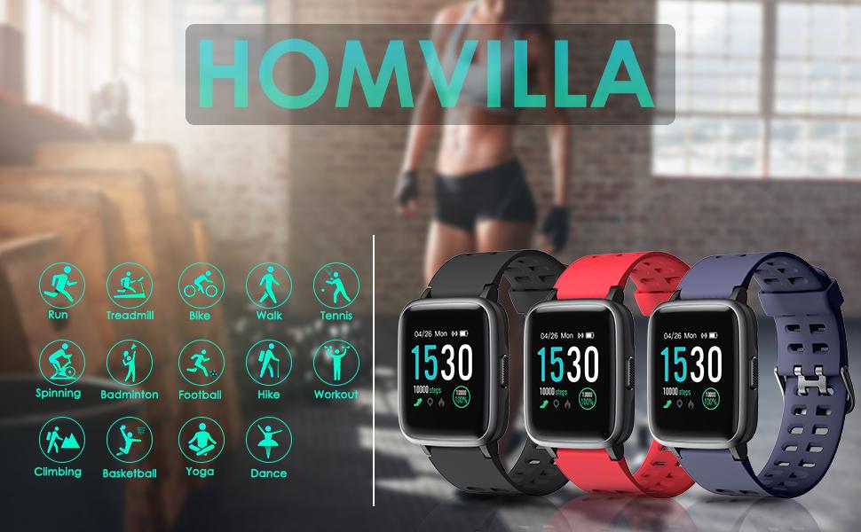 HOMVILLA Pulsera Actividad,Reloj Inteligente Impermeable IP68 con ...