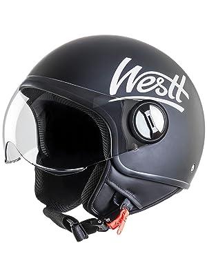 westt classic jet casco moto scooter negro mate