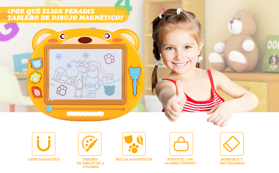 Peradix Pizarra Magnética Infantil, 3 Stampers & Pluma ...