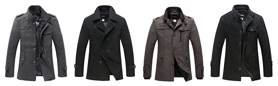 Wantdo abrigo la tela de mezcla de lana, no sólo puede mantener el calor, pero también entallado para la apariencia de moda y amplio uso.