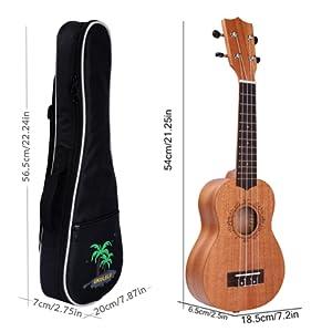 Este ukelele soprano dispone de un tamaño aproximado de 21,25 pulgadas (54 cm aproximadamente). El ukelele soprano es el instrumento estándar de Hawái.