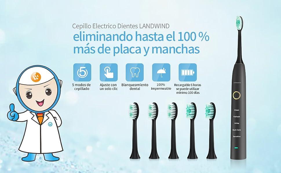 LANDWIND brillante Sonic cepillo de dientes eléctrico