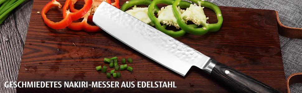 hecef Profesional Cuchillo de Chef para Fruta y Verduras, 7 Pulgadas Cuchillo Nakiri (Plata) (Cuchillo nakiri 1)