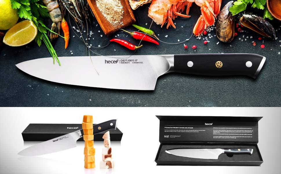 hecef Profesional Cuchillo de Cocina, Acero Inoxidable Alemán con Alto Contenido de Carbono (X50CrMoV15), 8 Pulgadas, Mango de Fibra de Vidrio G10, ...