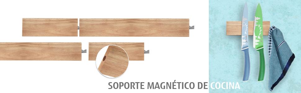 Hecef Soporte Magnético de cocina de Madera de Acacia, 6 Pulgadas, para Piezas Metálicas