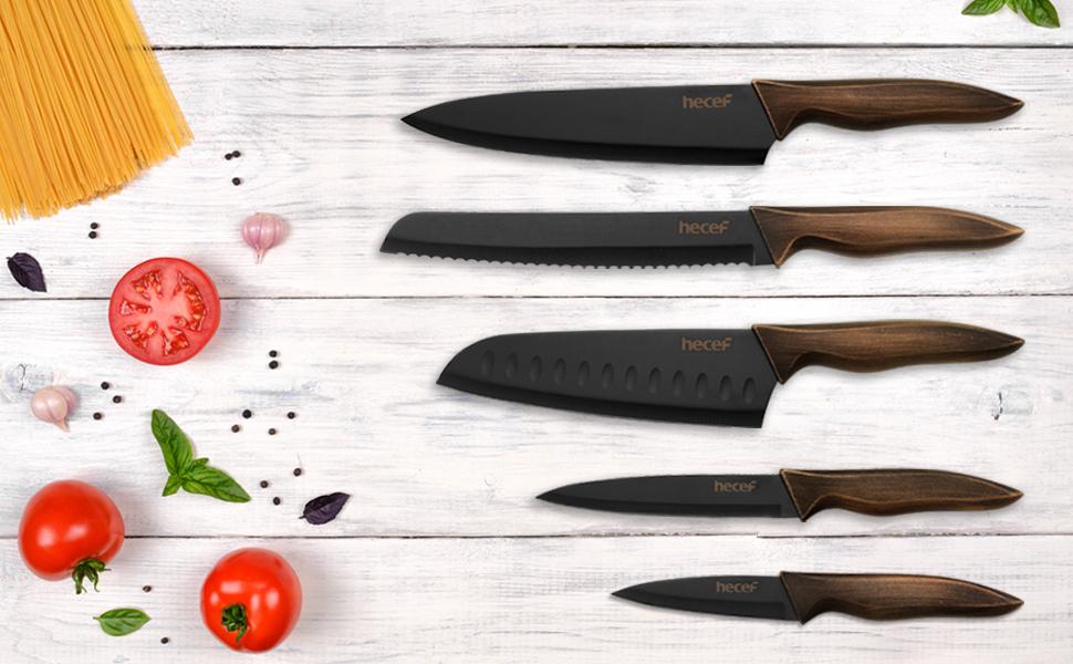 hecef Juego de Cuchillos de Cocina, Cuchillo Antiadherente Negro de Acero Inoxidable, Incluye Cuchillo de Cocina,Cuchillo de Pan,Cuchillo Santoku, ...