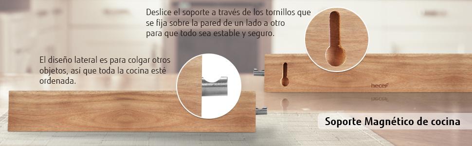 Hecef Soporte Magnético de Madera de Acacia, 12 Pulgadas, para Piezas Metálicas