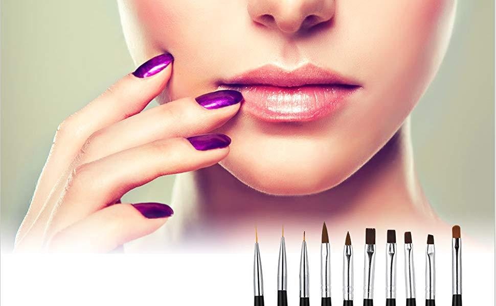 Crear una gran variedad de diseños de uñas-arte del deslumbramiento con este gran juego de todo-en-uno de los cepillos y los suministros de uñas -arte!