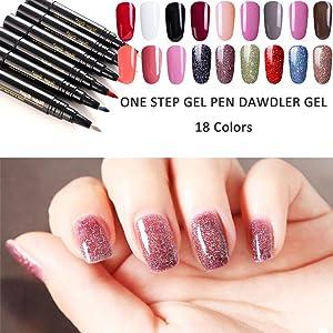 Pincel Brocha Pintauñas, Anself 3 en 1 Gel, de Uñas con Pintura Pintar Gel UV Nail Art Pen Painting Design smaltes en Gel para Manicura, 18 colors