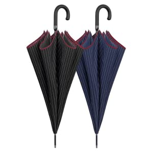 Paraguas Clasico Golf Negro Hombre Largo a Rayas Blancas con Ribete Granate - Paraguas Grande XL Antiviento Resistente Varillas de Fibra de Vidrio - Automatico - PFC FREE - Ø 120 cm -