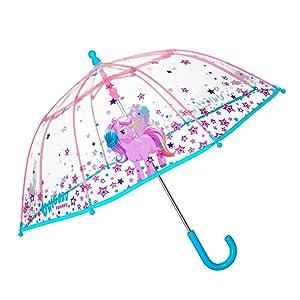 Paraguas transparente con unicornio y estrellas para niñas