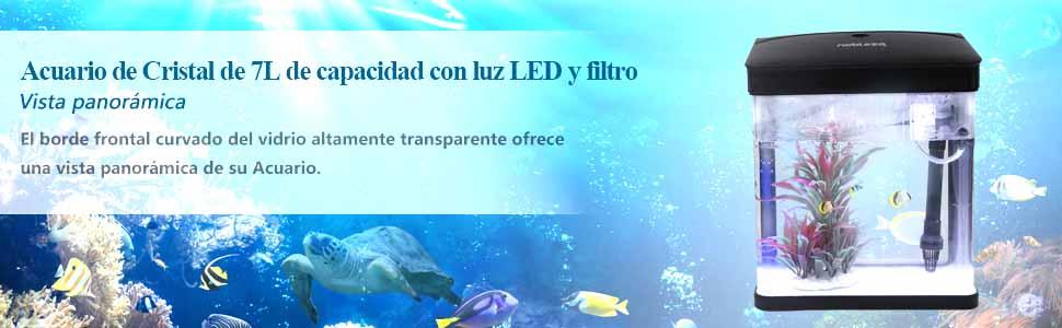 NOBLEZA Acuario de Cristal de 7L de capacidad con luz LED y filtro