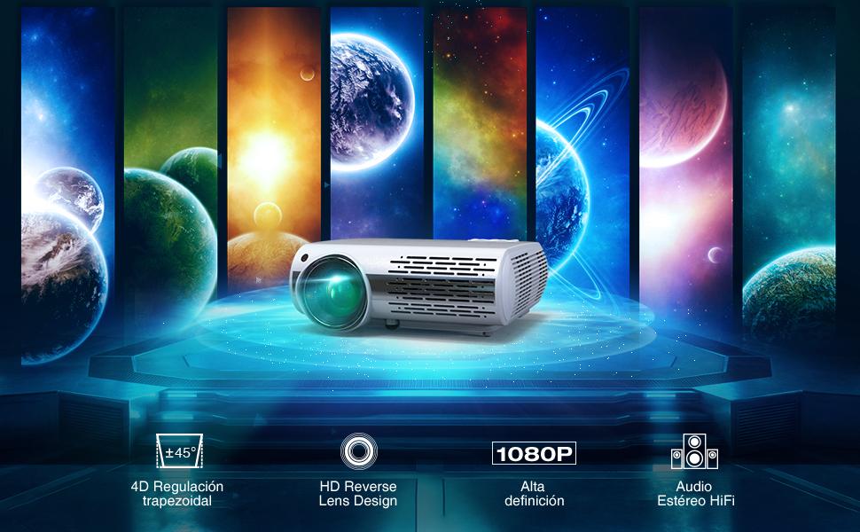 Proyector HD, YABER Proyector Cine en Casa 1080P 4500 Lúmenes ...