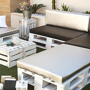 SUENOSZZZ-ESPECIALISTAS DEL DESCANSO Pack de 2 colchonetas para Sofas de Palet. Cojines Rellenos con Espuma. Color Blanco | Cojines para Chill out, ...