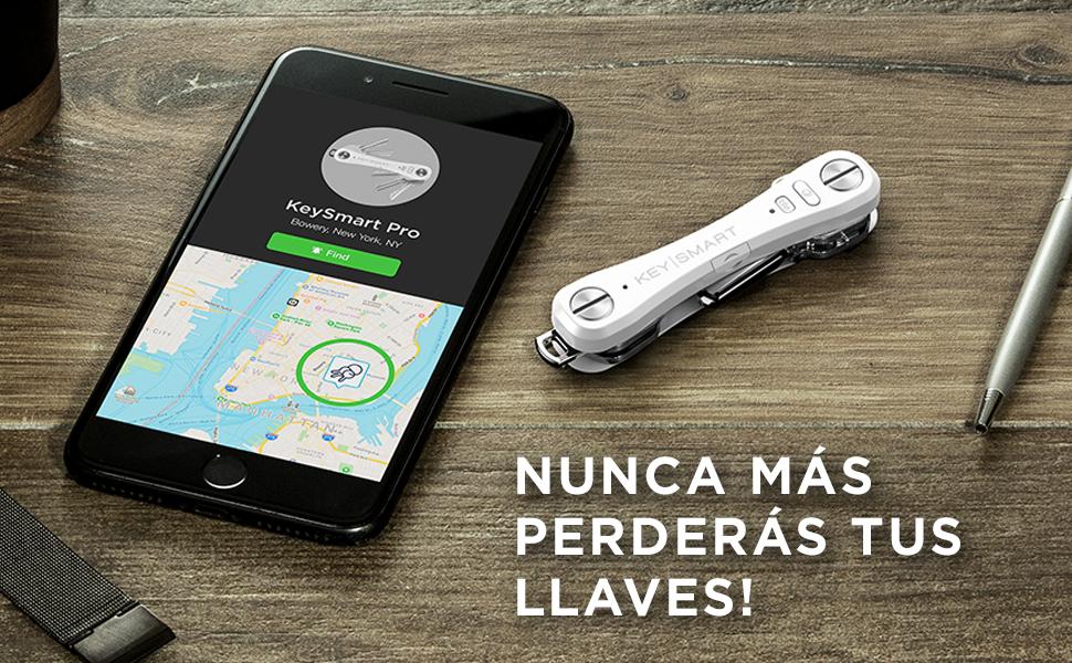KeySmart Pro | Llavero compacto con linterna LED y tecnología smart Tile. Busca tus llaves y móviles perdidos con Bluetooth (2-10 llaves, Blanco)