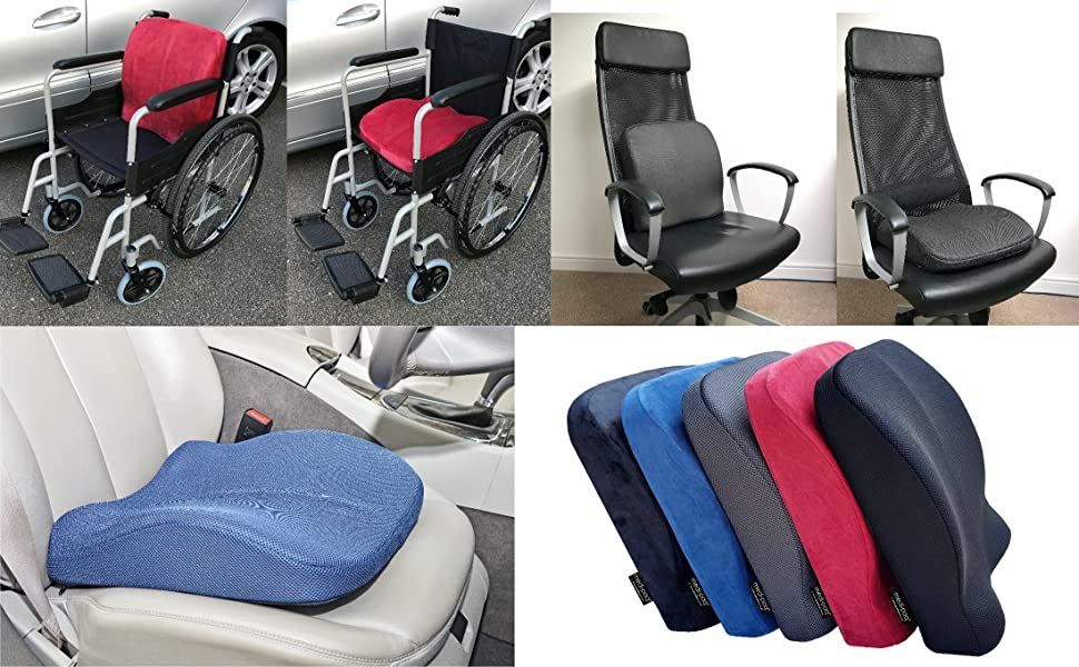 Medipaq® El cojín de espuma de memoria con contorno en el asiento y respaldo 2 en 1 ¡Reduce el dolor de espalda, mejora la postura en el hogar, sillas ...