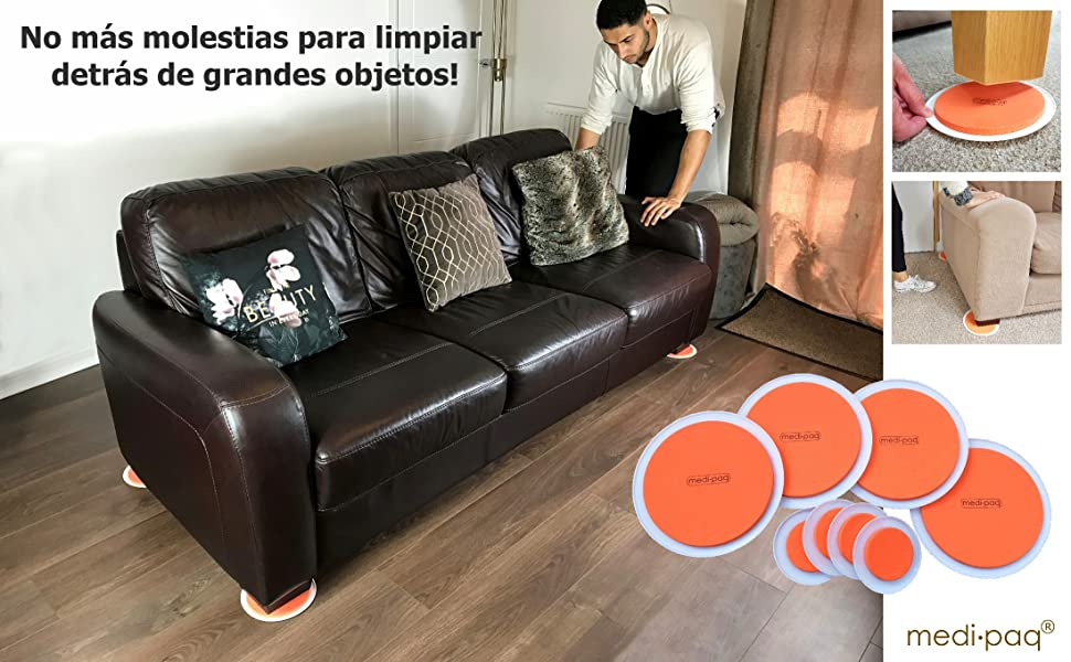 Los SUPER DESLIZADORES DE MUEBLES (Distinct ORANGE de Grandes Ideas) – Mover Muebles Pesados nunca ha sido tan fácil! PAQUETE ECONOMICO DE 8 PIEZAS