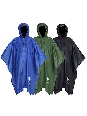 Las costuras termoselladas en la cabeza y los hombros del poncho lo protegen de la lluvia.