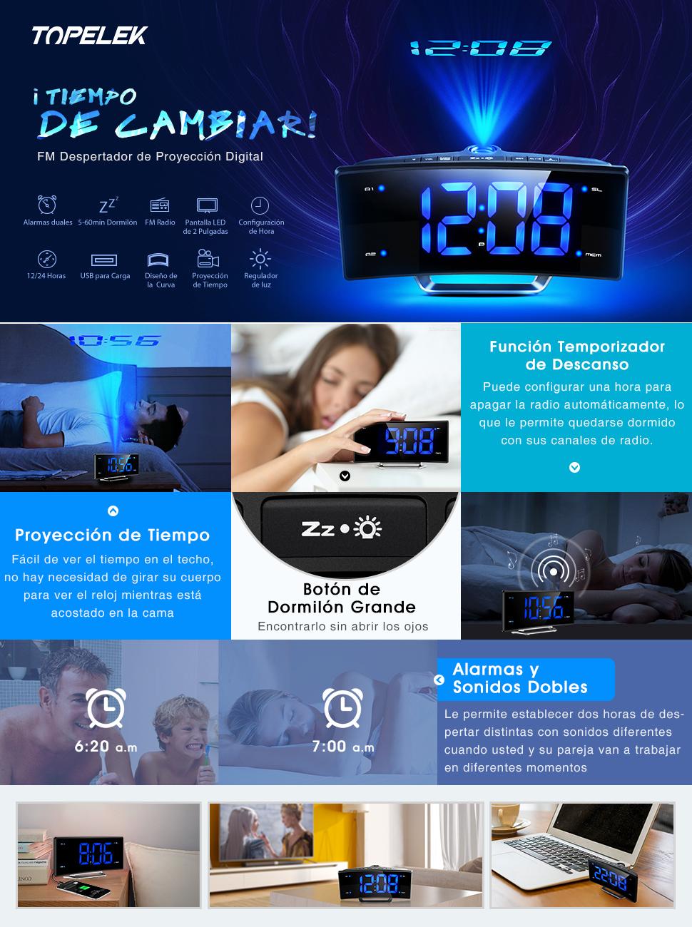TOPELEK Radio Despertador Digital, Radio Reloj Despertador con Proyector, Alarma de Proyección de FM, Alarmas Dobles, Función Snooze, Pantalla LED de ...