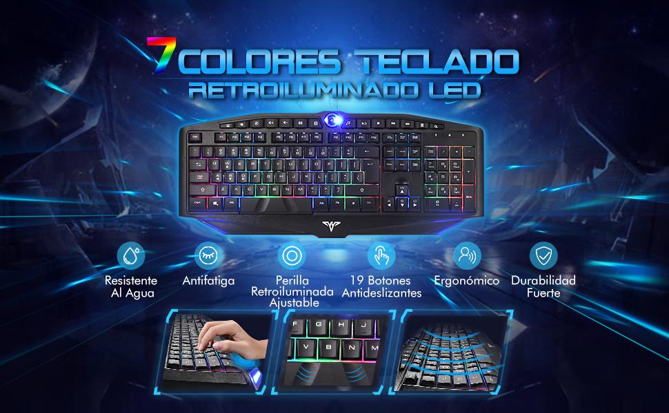 Teclado Gaming con 7 Colores Retroiluminado