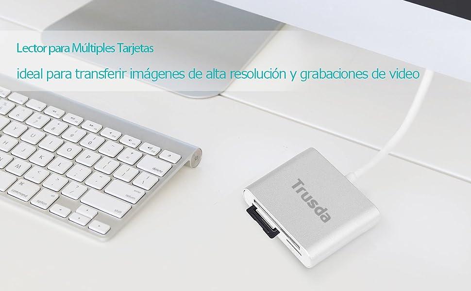 Lector Tarjeta SD/Micro SD/CF, Ultra-rápido USB 3.0 Lector ...