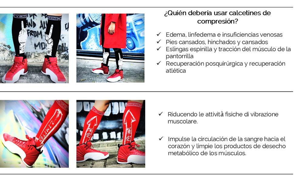 Calcetines de Compresión & Medias de Compresión Hombre & Mujer,Running,Trabajo,Fascitis Plantar,Varices(10-20mmHg), S/M