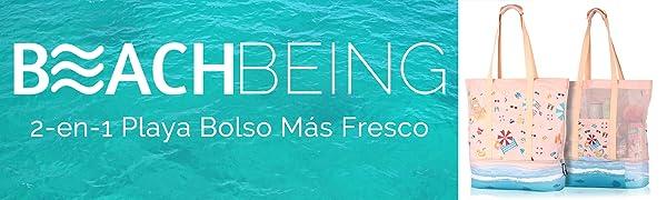 BeachBeing Bolsas de Playa Grande con Cremallera 2019, Bolsas Isotermicas Térmica,Bolsas Mujer Portatiles, Bolsa de Playa de Malla con Compartimiento ...