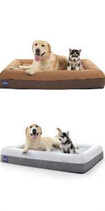 Cama ortopédica para perros con doble almohada, Cama ortopédica para perros con espuma de memoria, Cama de doble cara para perros.