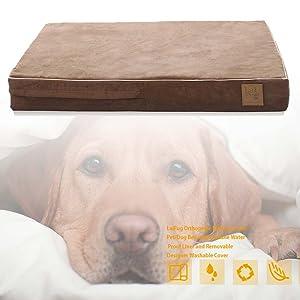 Cama ortopédica para perros de espuma de memoria Premium | Los últimos colores ofrecen un look moderno.